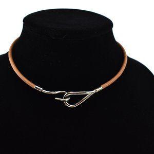 HERMES Jumbo: Brown/Silver Hook Bracelet/Choker ot